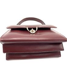 Load image into Gallery viewer, Vintage Handbag 60s In Dainty Small Satchel Style bag In Burgundy Leather w/ Postman's Lock-Vintage Handbag, Kelly Bag-Brand Spanking Vintage