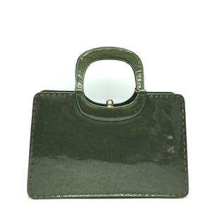 Fabulous vintage 60s/70s leather bag in green patent leather Kelly bag style, Kelly purse by Widegate, made in England excellent condition-Vintage Handbag, Kelly Bag-Brand Spanking Vintage