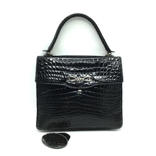 Load image into Gallery viewer, Stunning Vintage 60s Black Crocodile Kelly Bag w/ Silver Tone Clasp And Matching Crocodile Backed Mirror, Made In W Germany-Vintage Handbag, Exotic Skins-Brand Spanking Vintage