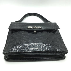 Stunning Vintage 60s Black Crocodile Kelly Bag w/ Silver Tone Clasp And Matching Crocodile Backed Mirror, Made In W Germany-Vintage Handbag, Exotic Skins-Brand Spanking Vintage
