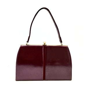 Vintage 60s Pearlescent Dark Fuschia/Burgundy Kelly Bag-Vintage Handbag, Kelly Bag-Brand Spanking Vintage
