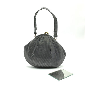 Gorgeous Little Vintage 50s Black And Silver Fabric 'Dolly Bag' Style Evening Bag w/ Original Mirror-Vintage Handbag, Evening Bag-Brand Spanking Vintage