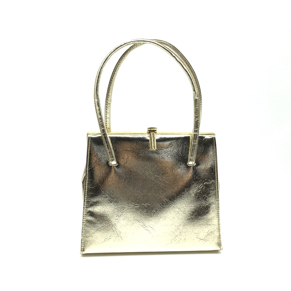 Vintage 60s/70s Gold Faux Leather Twin Handle Kelly Bag, Evening Bag, Occasion Bag-Vintage Handbag, Evening Bag-Brand Spanking Vintage
