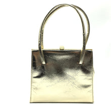 Load image into Gallery viewer, Vintage 60s/70s Gold Faux Leather Twin Handle Kelly Bag, Evening Bag, Occasion Bag-Vintage Handbag, Evening Bag-Brand Spanking Vintage