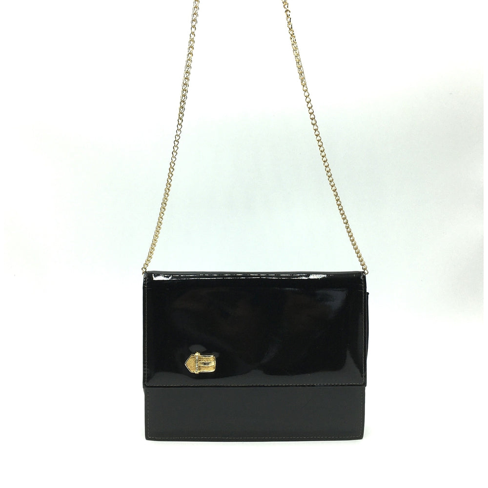 Vintage Waldybag Black Patent Leather Day/Evening/Occasion Bag w/ Gilt And Diamante Buckle Motif And Gilt Chain-Vintage Handbag, Evening Bag-Brand Spanking Vintage