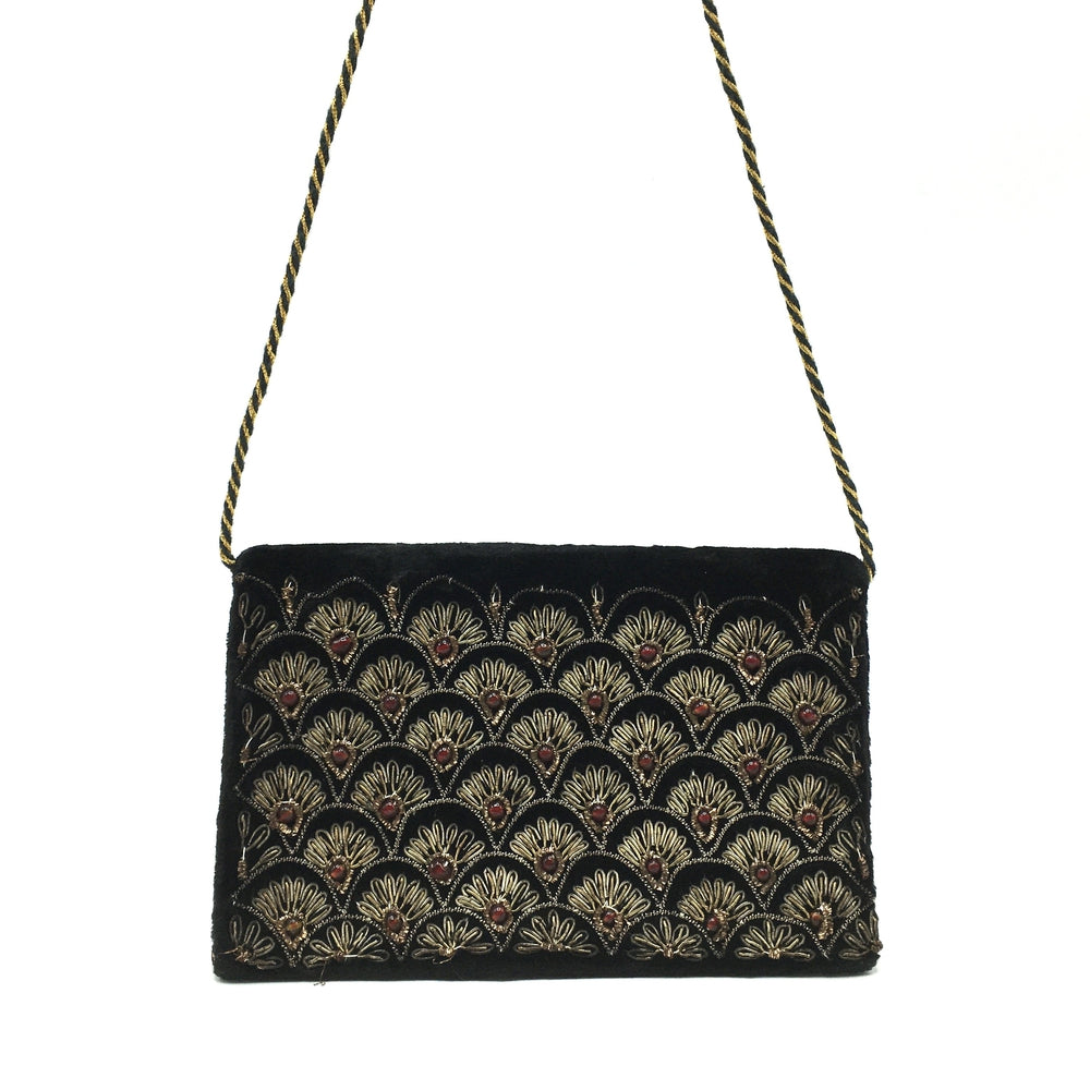Vintage Black Velvet Evening Bag w/ Gold Embroidery And Red Beading-Vintage Handbag, Evening Bag-Brand Spanking Vintage
