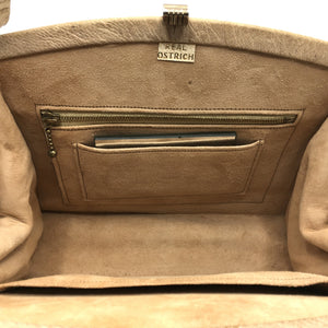 Vintage Handbag 50s/60s Kelly Bag In Immaculate Genuine Ostrich In Rare Pale Caramel w/ Mirror-Vintage Handbag, Exotic Skins-Brand Spanking Vintage