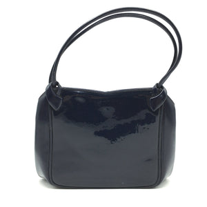 Exquisite Vintage Waldybag in Navy Patent Leather in Dainty Kelly Bag Style w/ Matching Silk Coin Purse-Vintage Handbag, Kelly Bag-Brand Spanking Vintage