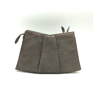 Vintage 80s Russell And Bromley Clutch Bag In Taupe Leather-Vintage Handbag, Clutch Bag-Brand Spanking Vintage