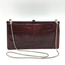 Load image into Gallery viewer, Vintage Claret Crocodile Skin Dainty Handbag w/ Silver Chain Strap By Zorbach Made In Germany-Vintage Handbag, Exotic Skins-Brand Spanking Vintage