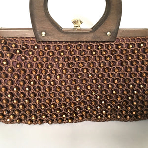 Vintage 60s 70s Crocheted/Beaded Raffia Style Dainty Gilt Clasp Top Handbag, Tobacco Brown w/ Copper Sparkly Beads, Wooden Handle-Vintage Handbag, Dolly Bag-Brand Spanking Vintage