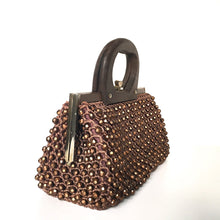 Load image into Gallery viewer, Vintage 60s 70s Crocheted/Beaded Raffia Style Dainty Gilt Clasp Top Handbag, Tobacco Brown w/ Copper Sparkly Beads, Wooden Handle-Vintage Handbag, Dolly Bag-Brand Spanking Vintage