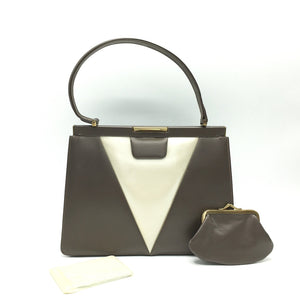 Vintage Pearlescent Leather Kelly Bag In Dark Taupe And Cream w/ Matching Purse And Mirror By Lodix-Vintage Handbag, Kelly Bag-Brand Spanking Vintage