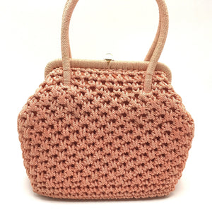 Vintage 60s Crocheted Raffia Style Gilt Clasp Handbag, Dolly Bag, Pinky Peach, Orange Made In Italy, w/ Long Ruched Orange Nylon Gloves-Vintage Handbag, Dolly Bag-Brand Spanking Vintage