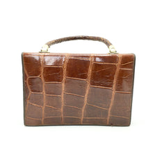 Load image into Gallery viewer, Vintage 70s Crocodile Skin Kelly Bag In A Rare Rich Brandy Colour In Superb Condition-Vintage Handbag, Exotic Skins-Brand Spanking Vintage