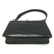 Load image into Gallery viewer, Vintage 50s Dainty Black Crocodile Skin Kelly Bag w/ Intricate Gilt Clasp And Beige Leather Lining-Vintage Handbag, Exotic Skins-Brand Spanking Vintage