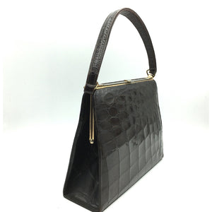 Vintage Handbag In Kelly Style In Dark Chocolate Crocodile Skin w/ Single Top Handle And Tan Leather Lining-Vintage Handbag, Exotic Skins-Brand Spanking Vintage