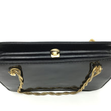 Load image into Gallery viewer, Vintage 60s Black Patent Leather Dainty Little Handbag w/ Short Twisted Gilt Snake Chain Handles Made In England By Wiklorbag-Vintage Handbag, Clutch Bag-Brand Spanking Vintage