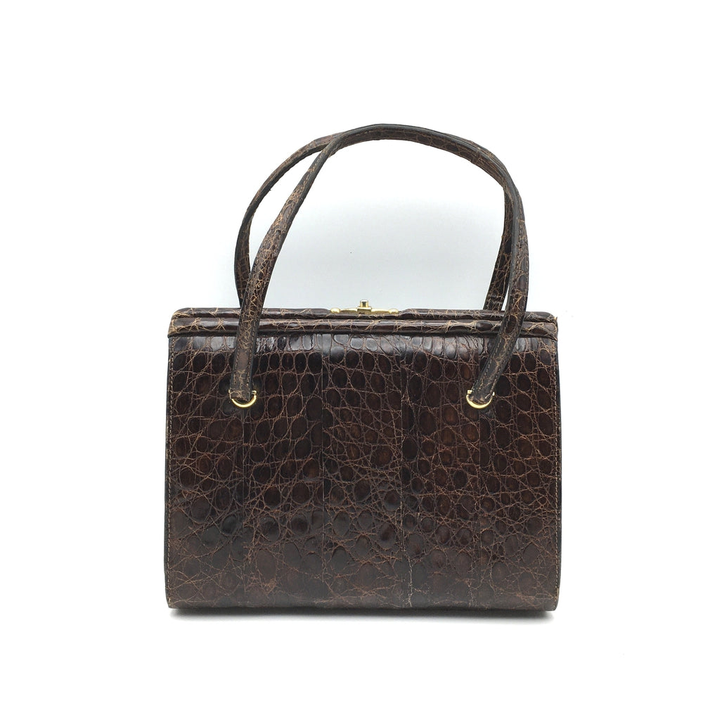 Vintage Dainty 50s Twin Handled Glossy Rich Chocolate Alligator Skin Handbag Made In France-Vintage Handbag, Exotic Skins-Brand Spanking Vintage