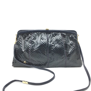 Vintage 70s French Navy Snakeskin And Leather Clutch/Shoulder Bag By Jane Shilton-Vintage Handbag, Exotic Skins-Brand Spanking Vintage