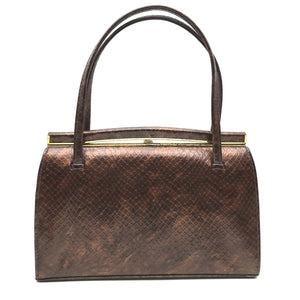 Vintage 60s/70s Bronze Holmes Of Norwich Faux Snakeskin Patent Leather Kelly Bag-Vintage Handbag, Kelly Bag-Brand Spanking Vintage