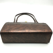 Load image into Gallery viewer, Vintage 60s/70s Bronze Holmes Of Norwich Faux Snakeskin Patent Leather Kelly Bag-Vintage Handbag, Kelly Bag-Brand Spanking Vintage