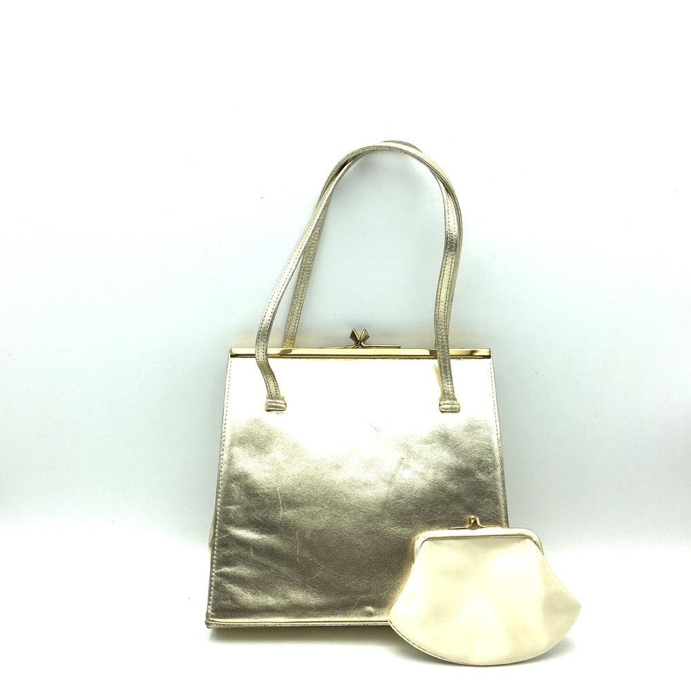 SOLD Elegant Gold Leather Evening/Occasion Bag w/ Matching Silk Coin Purse By Waldybag-Vintage Handbag, Evening Bag-Brand Spanking Vintage
