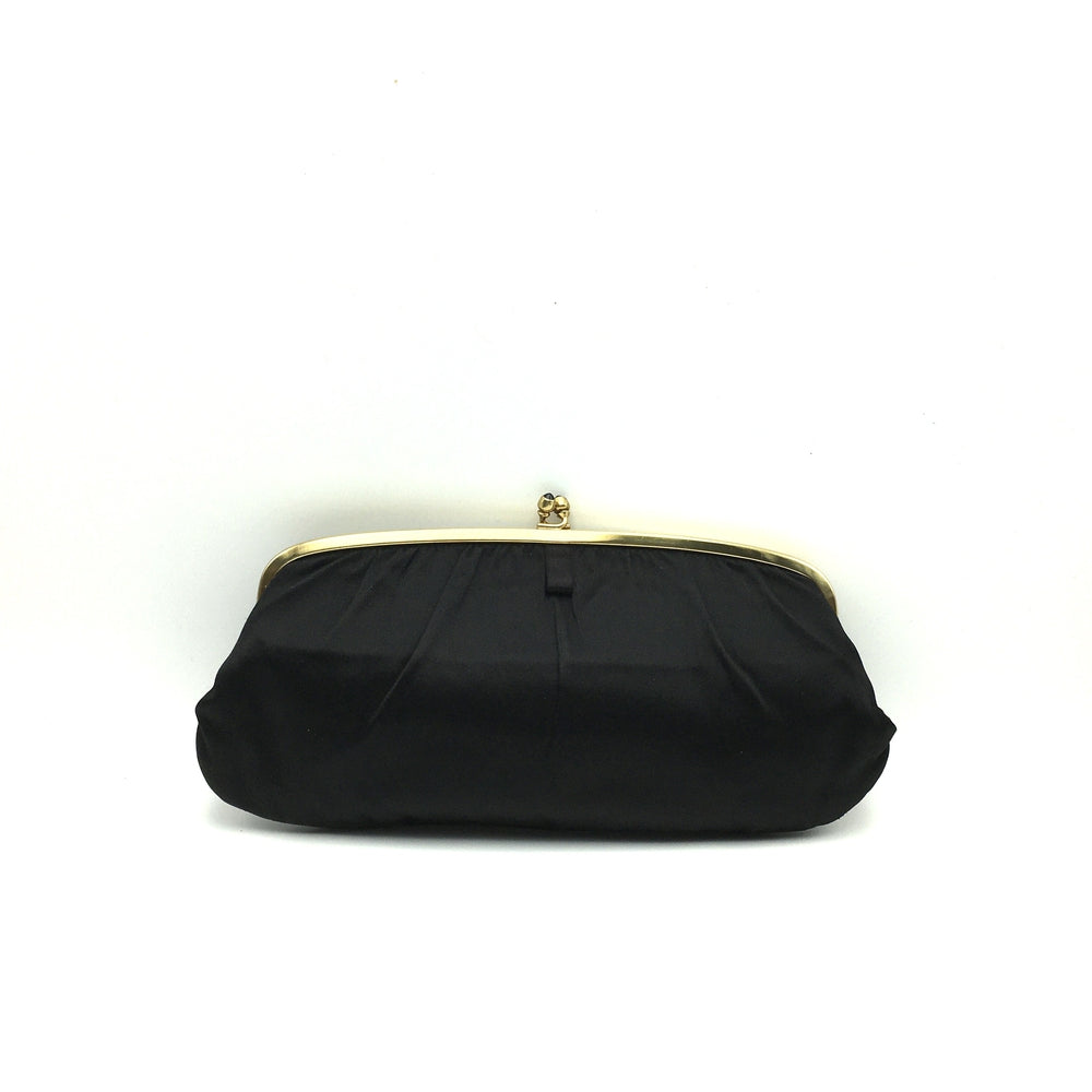 Vintage 50s Black Silk Satin Clutch Bag By Coblentz Made in Belgium-Vintage Handbag, Evening Bag-Brand Spanking Vintage
