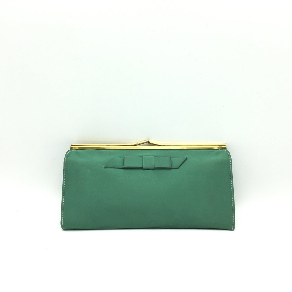 Vintage 50s Emerald Green Silk Satin Evening Bag w/ Dainty Bow Detail By Waldybag For Harrods-Vintage Handbag, Evening Bag-Brand Spanking Vintage