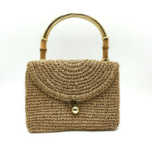 Load image into Gallery viewer, Vintage 60s Dainty Little Raffia Handbag w/ Gilt And Bamboo Handles By Koret-Vintage Handbag, Dolly Bag-Brand Spanking Vintage