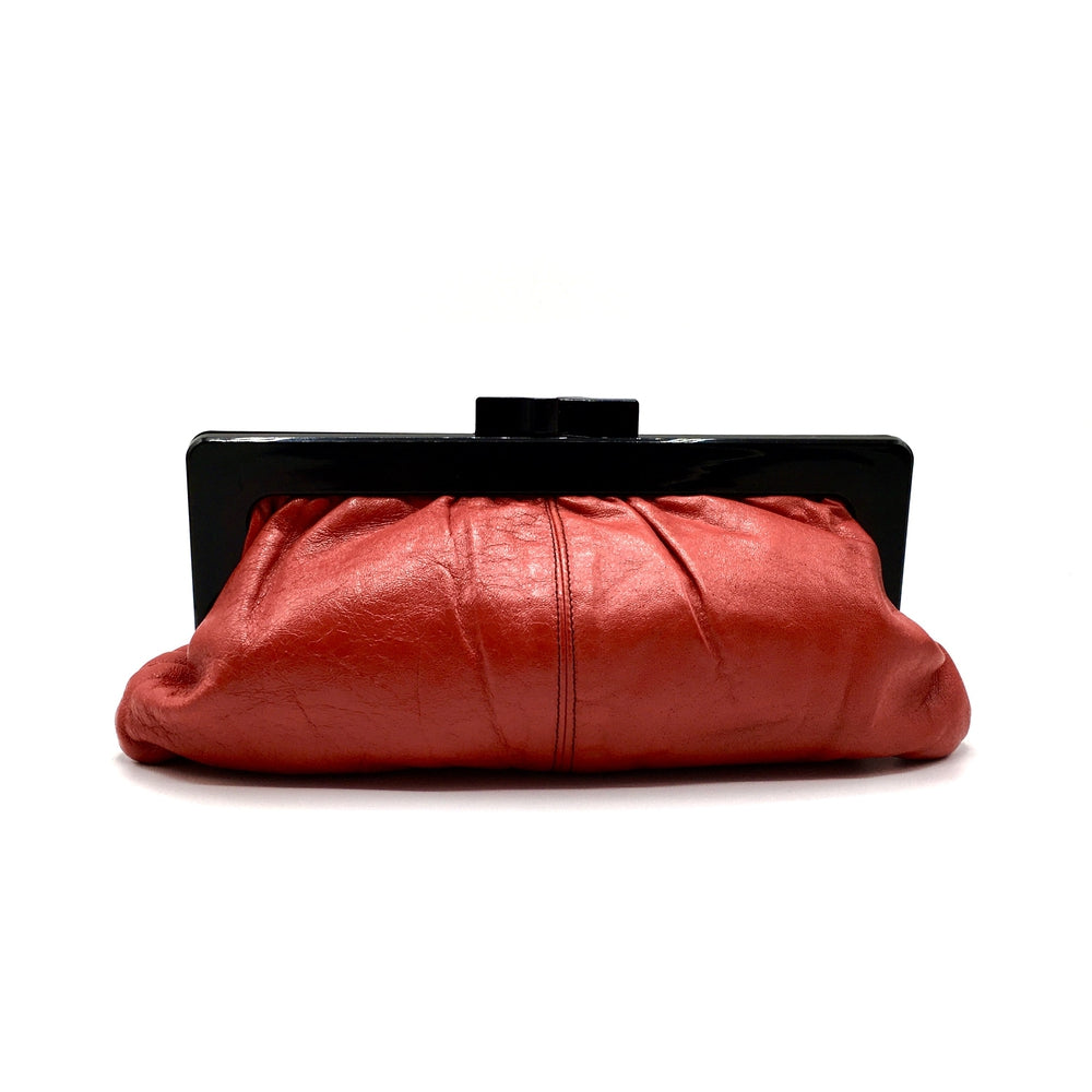 Vintage 80s Large Lipstick Red Leather Clutch Bag with Black Lucite Frame and Clasp Stunning-Vintage Handbag, Clutch Bag-Brand Spanking Vintage