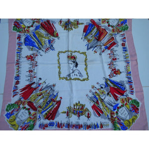 Large Scarf Commemorating The Coronation Of Queen Elizabeth II In 1953 In Vibrant Colours-Scarves-Brand Spanking Vintage