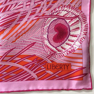 Liberty Of London Silk Scarf In Updated 'Hera' Design In Vibrant Pinks And Orange-Scarves-Brand Spanking Vintage