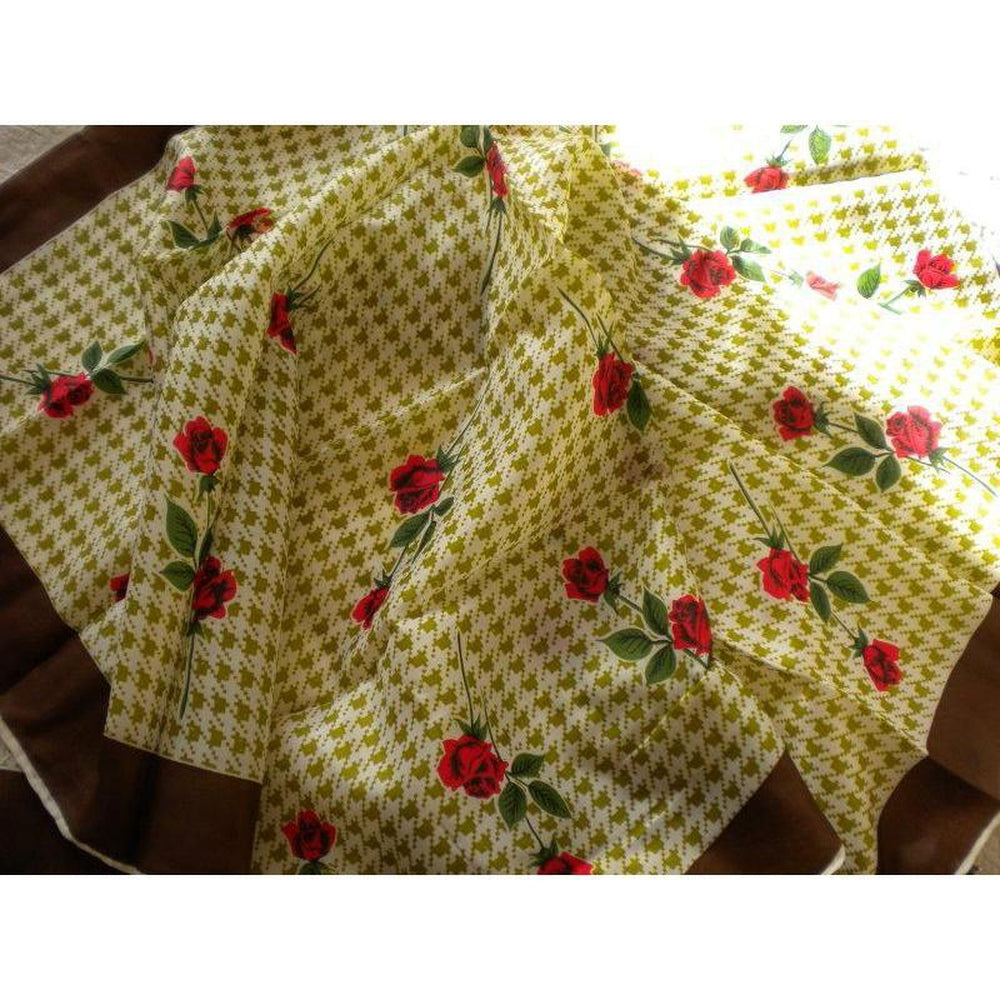 Small Vintage 50s/60s Scarf w/ Rose Pattern-Scarves-Brand Spanking Vintage