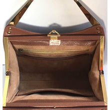 Load image into Gallery viewer, Stunning Vintage 70s Tan Textured Leather Bag, Leather Purse, w/ Leather Covered Gilt Top Handles And Gilt Clasp Unused By Ackery Of London-Vintage Handbag, Kelly Bag-Brand Spanking Vintage