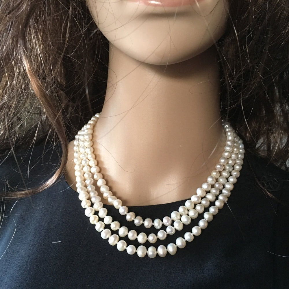 Triple Strand Of Genuine Cultured 6-7mm Pearls 16