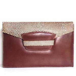Vintage 30s/40s Iconic Art Deco Period Clutch Bag In Chestnut Brown Leather And Lizard Skin-Vintage Handbag, Clutch Bag-Brand Spanking Vintage