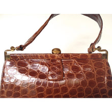 Load image into Gallery viewer, Vintage 40s/50s Glossy Toffee Crocodile Skin Handbag In Dainty Size And Style-Vintage Handbag, Exotic Skins-Brand Spanking Vintage