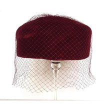 Load image into Gallery viewer, Vintage 50s Burgundy Velvet Pill Box Hat w/ Veil From C&A-Accessories, For Her-Brand Spanking Vintage