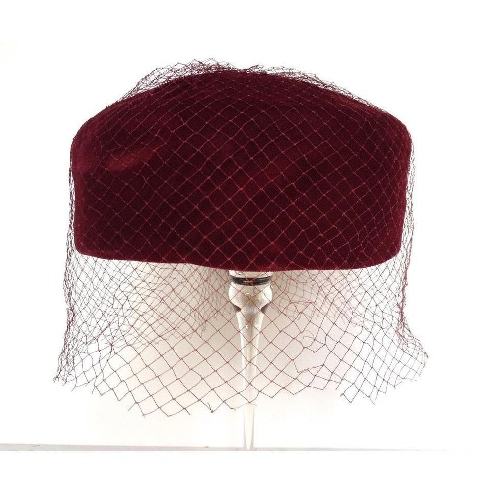 Vintage 50s Burgundy Velvet Pill Box Hat w/ Veil From C&A-Accessories, For Her-Brand Spanking Vintage