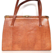 Load image into Gallery viewer, SOLD Vintage 50s Caramel Lizard Skin Kelly Bag By Fassbender Made In England-Vintage Handbag, Exotic Skins-Brand Spanking Vintage
