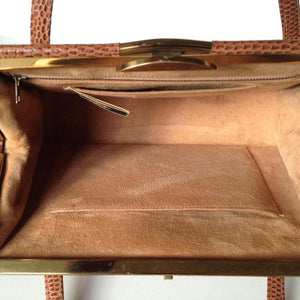 SOLD Vintage 50s Caramel Lizard Skin Kelly Bag By Fassbender Made In England-Vintage Handbag, Exotic Skins-Brand Spanking Vintage