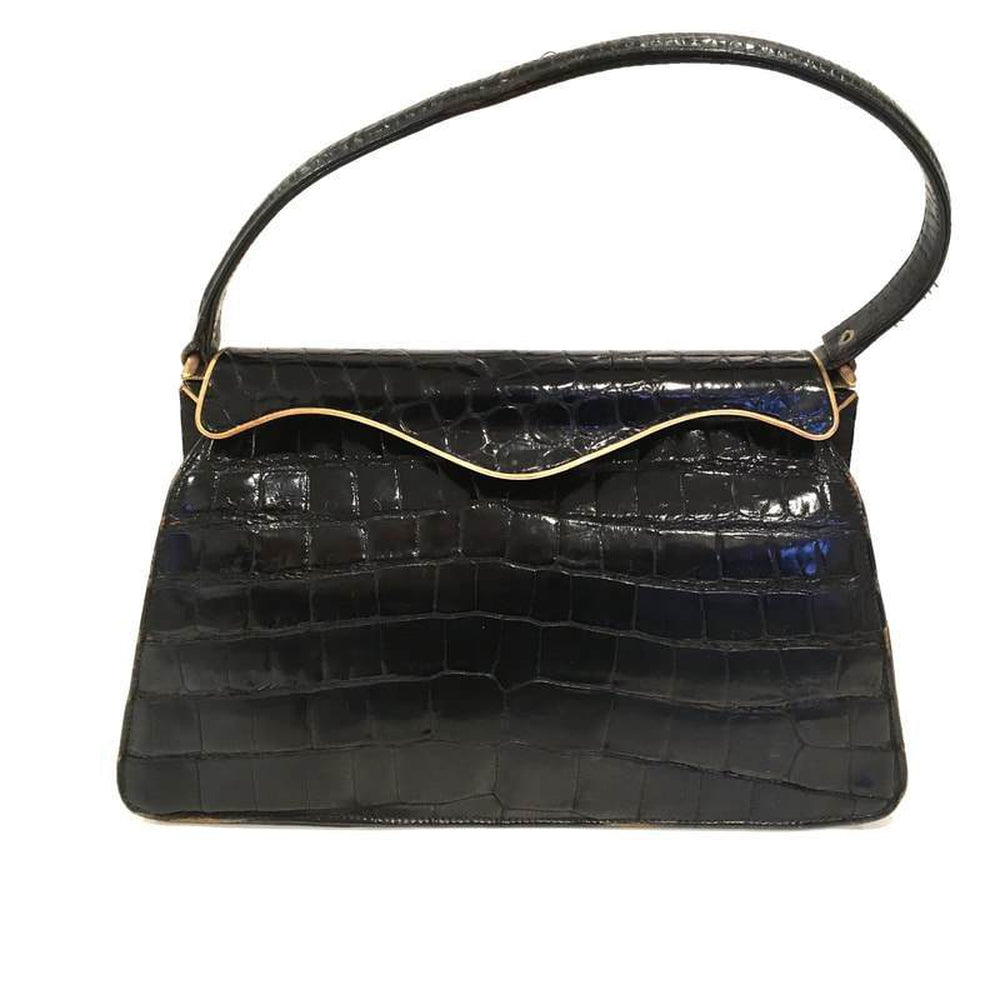 Vintage 50s Glamorous Large Glossy Black Crocodile Skin Kelly Bag/Evening Bag w/ Elegant Gilt/Metal Curved Top Bar-Vintage Handbag, Exotic Skins-Brand Spanking Vintage