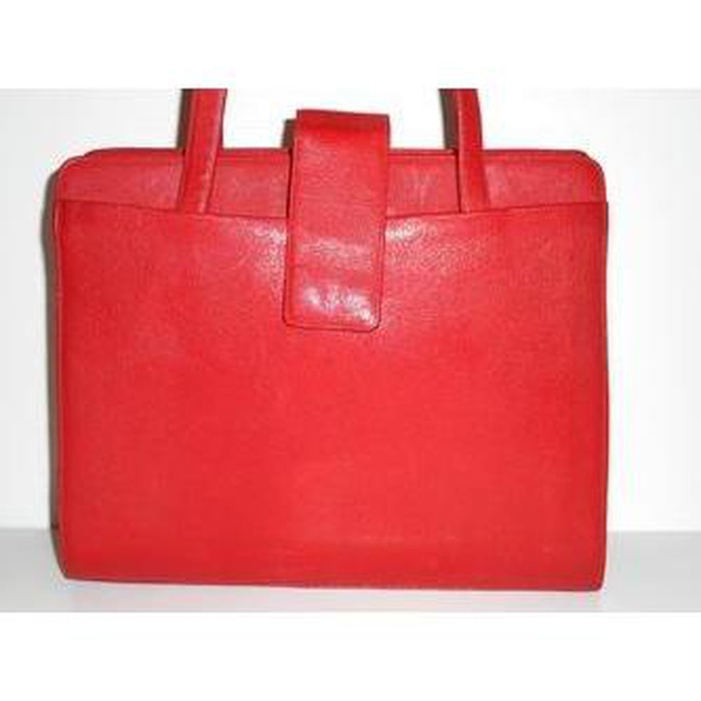 Vintage 50s Large Lipstick Red Leather Handbag By Fassbender-Vintage Handbag, Large Handbag-Brand Spanking Vintage
