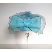Load image into Gallery viewer, Vintage 50s Pale Blue Chiffon Classic Pill Box Hat w/ Rear Bow And Full Net Veil By Barnett Hand Made In Britain-Accessories, For Her-Brand Spanking Vintage