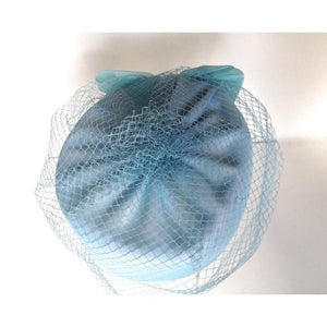 Vintage 50s Pale Blue Chiffon Classic Pill Box Hat w/ Rear Bow And Full Net Veil By Barnett Hand Made In Britain-Accessories, For Her-Brand Spanking Vintage