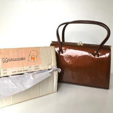 Load image into Gallery viewer, Vintage 50s/60s Fabulous Bronze Patent Leather Kelly Bag w/ Dainty Gilt Kisslock Clasp By Maclaren In Original Box-Vintage Handbag, Kelly Bag-Brand Spanking Vintage