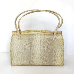 Vintage 50s/60s Leather Faux Snakeskin Handbag In Cream/Gold w/ Grey/Taupe Patent By Holmes of Norwich-Vintage Handbag, Kelly Bag-Brand Spanking Vintage
