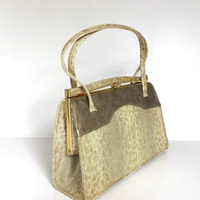 Load image into Gallery viewer, Vintage 50s/60s Leather Faux Snakeskin Handbag In Cream/Gold w/ Grey/Taupe Patent By Holmes of Norwich-Vintage Handbag, Kelly Bag-Brand Spanking Vintage