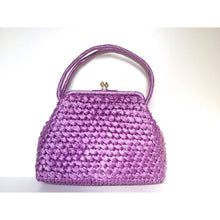 Load image into Gallery viewer, Vintage 50s/60s Stylish Dolce Vita Style Raffia Handbag w/ Top Handles And Gilt Clasp In Vivid Lilac/Lavender-Vintage Handbag, Dolly Bag-Brand Spanking Vintage